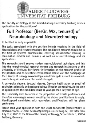 Position of Professor of Neurobiology and Neurotechnology